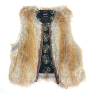 Sanctuary Faux Fur Leather Trim Vest Size Medium